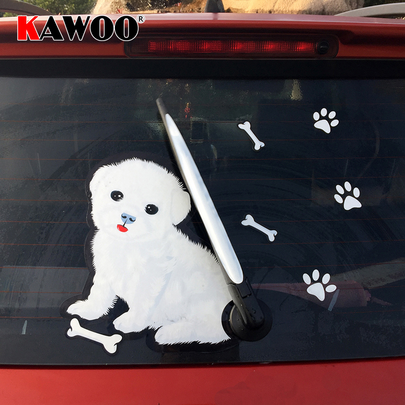 KAWOO Car-Styling 3D Car Moving Tail Decal Cute White Dog Auto Stickers Reflective Rear Wiper Decals Animal Waterproof Stickers
