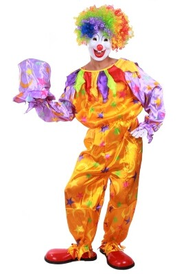 Adult Cosplay Dress Clown Clothes Halloween Clown Circus Performance Clothing Party Mens Clothing Men Clown Shoes Mask