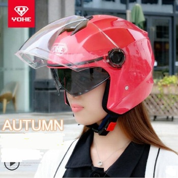 2018 Autumn New YOHE Double Lens Half Cover Motorcycle Helmets Half Face Motorbike Helmet Made of ABS with PC Visor Lens YH887A
