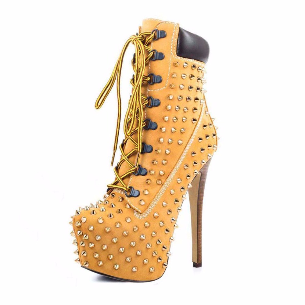 2016 new fashion stiletto high heel women shoes rivet studed winter ladies boots lace-up customize madam pumps big size4-15 2016 new fashion stiletto high heel women shoes rivet studed winter ladies boots lace up customize madam pumps big size4 15