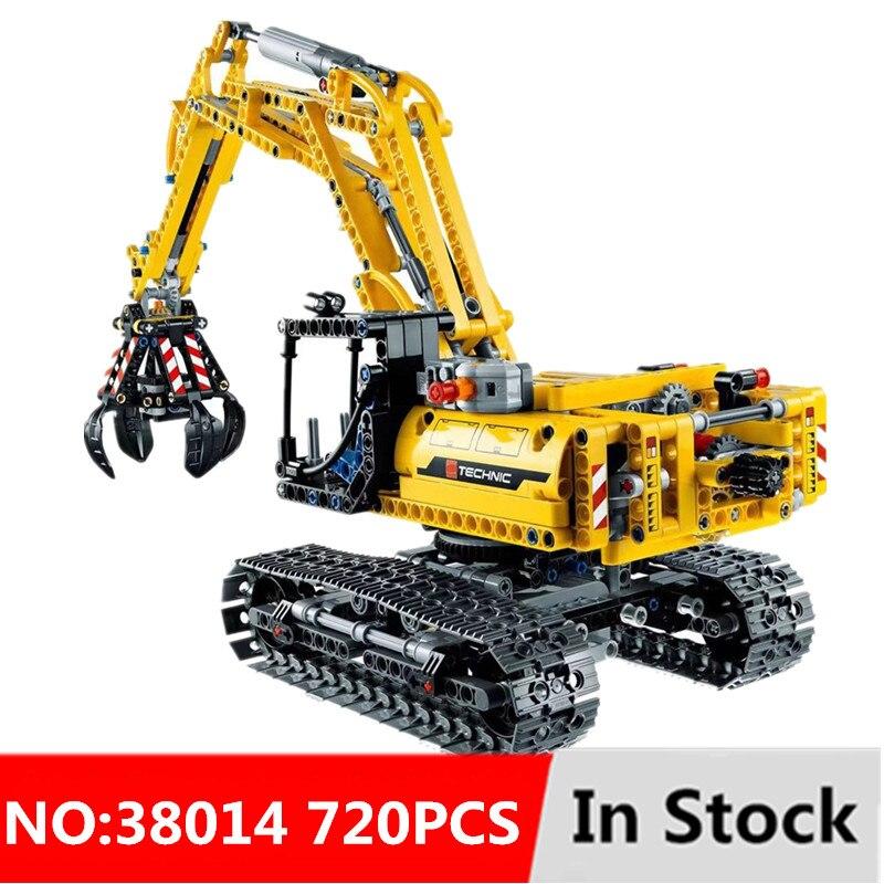 720 pces 2in1 compatível legoinglys técnica escavadeira modelo blocos de construção tijolo sem motores cidade crianças brinquedos para crianças presentes
