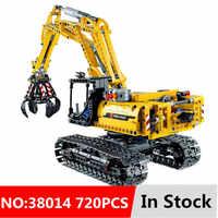 720 sztuk 2w1 kompatybilny LegoINGlys Technic model koparki klocki cegły bez silników miasto dzieci zabawki dla dzieci prezenty