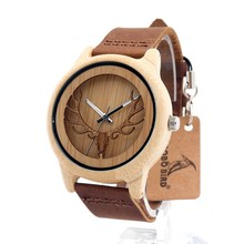 BOBO BIRD A27 Vintage Deer Head Skeleton Design Bamboo Wood Wrist Watch Mens Womens Timepiece with Leather Bands in Watch  Box