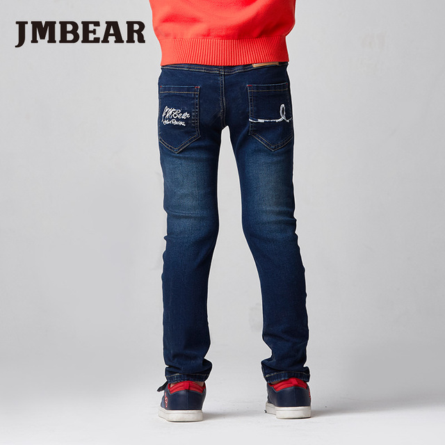 JMBEAR 6-14Y boys jeans kids denim pants girls jean children clothing slim fit straight leg elastic waist autumn winter new