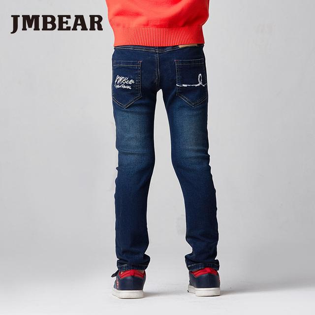 Jmbear meninos de jeans crianças calças jeans meninas crianças jean 6-14y roupas slim fit perna reta cintura elástica outono inverno nova