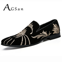 AGSan Embroidered Loafers Men Velvet Shoes Black Designer Mens Smoking Slippers Male Wedding And Party Loafers