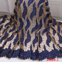 Высококачественные блестки кружевной ткани синий/Золотой нигерийская Тюлевая ткань последние французский африканский тюль кружевной тка...
