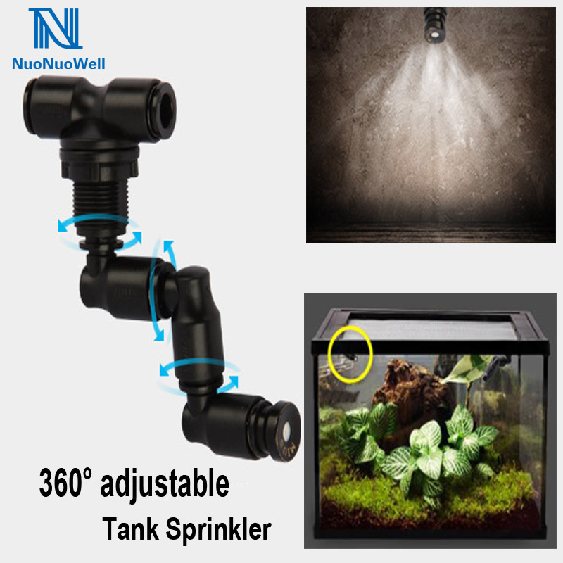 Terrariums Rainforest Tank 360 Adjustable Mist Sprinkler Aquarium Accessory Reptiles Lizard Chameleon Aquatic Pet Supplies