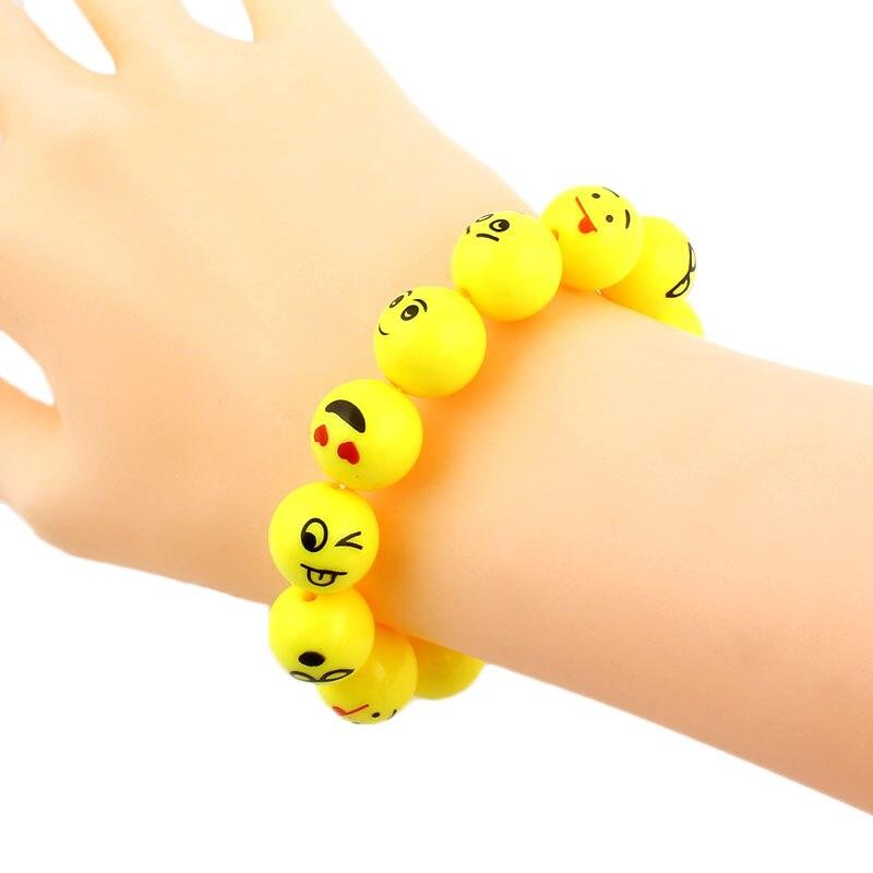 Yellow Emoji Cartoon Face Bracelet Acrylic Beads Stretch Chas