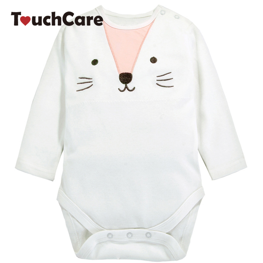 Cute Cartoon Cat Printed Baby Boy Girl Rompers Infant Cotton Long Sleeve Kids Jumpsuit Solid Soft Casual Toddler Clothes new 2017 panda cute baby boy romper long sleeve cotton jumpsuit baby cartoon printed rompers newborn baby boy girl clothes white
