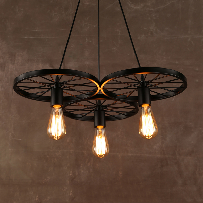 Vintage Creative E27 Wheel Chandelier Retro Loft Headlight Dining Room Bedroom Bar Club Pub Office Cafe Lights Pendant Lamp