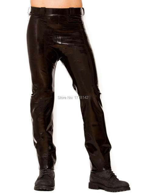 Men's Jeans Pants Classic Cut Midnight Latex Rubber Black Men Latex Jeans Back Pocket