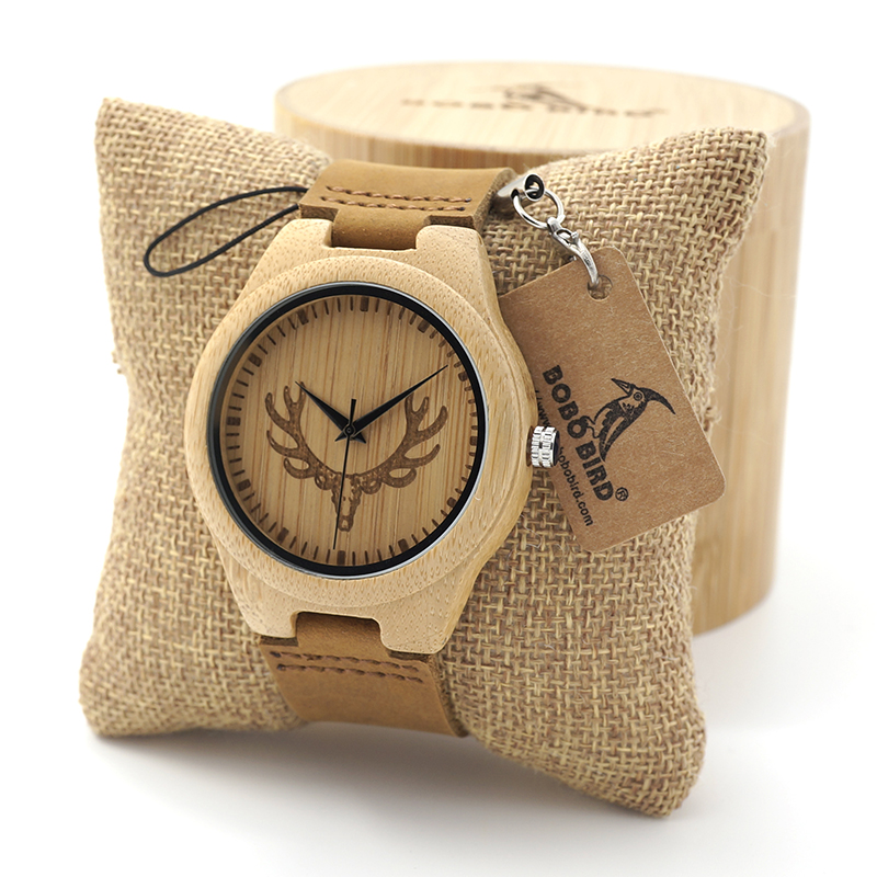 BOBO BIRD Wooden Watch Ladies Engrave Deer Head Bamboo Dial Quartz Watch with Genuine Leather Band as Gift relojes mujer 35mm aluminum miniature small jewelers hobby clamp on table bench vise tool vice top quality tools dremel
