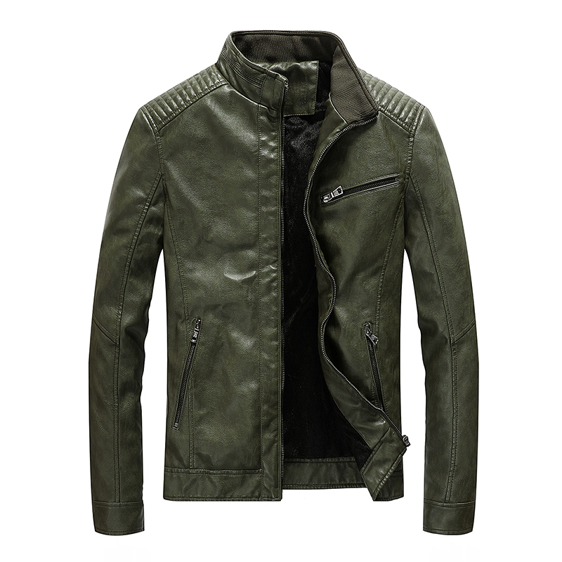 Jackets Coat Stand Collar Slim-Fit Motorcycle Casual New Outwear Pu Spring ABZ174 Men's