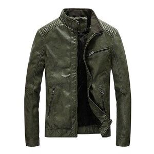Image 1 - Chaqueta de cuero de poliuretano para hombre, chaqueta ajustada informal para motocicleta, con cuello levantado, envío directo ABZ174