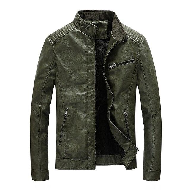 Chaqueta de cuero de poliuretano para hombre, chaqueta ajustada informal para motocicleta, con cuello levantado, envío directo ABZ174