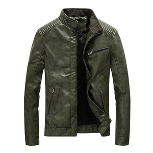 Image 1 - New Spring Mens Leather Jackets Stand Collar Motorcycle Pu Casual Slim Fit Coat Outwear Drop Shipping ABZ174
