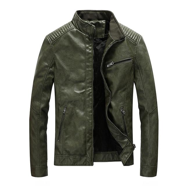 ฤดูใบไม้ผลิใหม่ผู้ชายหนังแจ็คเก็ตรถจักรยานยนต์ Pu Casual Slim Fit Coat Outwear Drop Shipping ABZ174