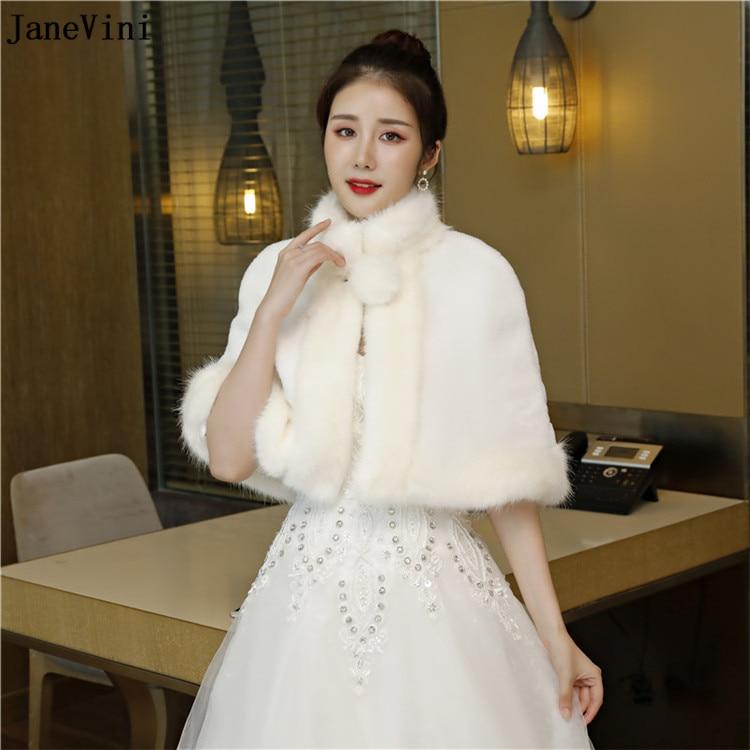 JaneVini 2018 Elegant Ivory Winter Faux Fur Bridal Wraps Women Wedding Cape Shawl Stoles Evening Party Jackets Bolero De Mariage