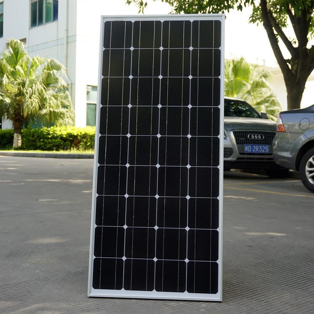 цена на 2015 USA Stock 100 W Monocrystalline Solar Panel  for 12V Battery RV Boat , Car, Home Solar Power &Free Shipping