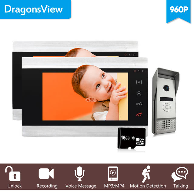 "Dragonsview 7"" HD  Video Door Phone 2 Monitors Wired Home Intercom System Video Door Station with Doorbell Camera 960P Message"