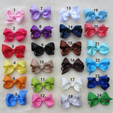 "60pcs/lot Solid 3"" Boutique Hair Bow With Alligator Clips For Girls Kids Hairpins Barrettes Hair Accessories"