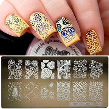 1set/16pcs Stainless Steel Nail Art Stamping Plates Nail Seal Manicure Polaco Printer Tool Templates Nail Stamp Stencils