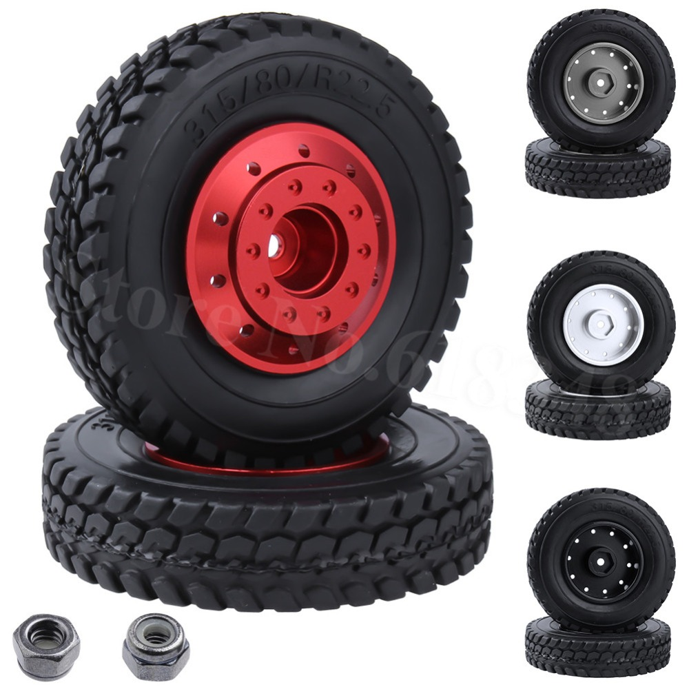2PCS For Tamiya 1/14 RC Tractor Trailer Tires Hard Rubber Wi