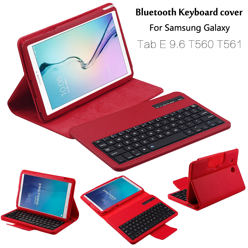For Samsung GALAXY Tab E 9.6 T560 T561 Removable Wireless Bluetooth Keyboard Portfolio Folio PU Leather Case Cover + Gift removable wireless bluetooth russian hebrew spanish keyboard stand pu leather case for samsung galaxy tab a 9 7 t555 t551 t550