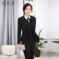 Куртка + брюки + жилет новые черные женские деловые рабочие костюмы Женская Офисная форма тонкие женские деловые брюки костюмы 3 шт блейзер