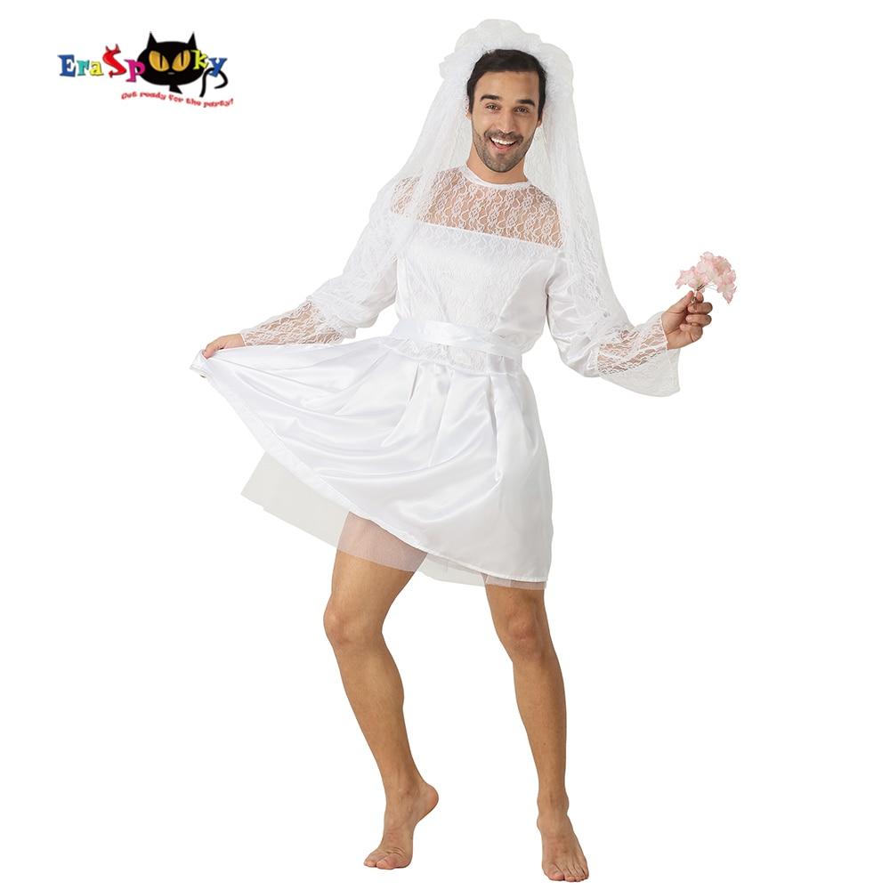 e8fa03a1e4 Eraspooky Divertente Sposa Costume Uomo Costume di Halloween Adulti Sexy  Abito Da Sposa In Pizzo Velo Sposo Cosplay di Carnevale del Partito Del  Vestito