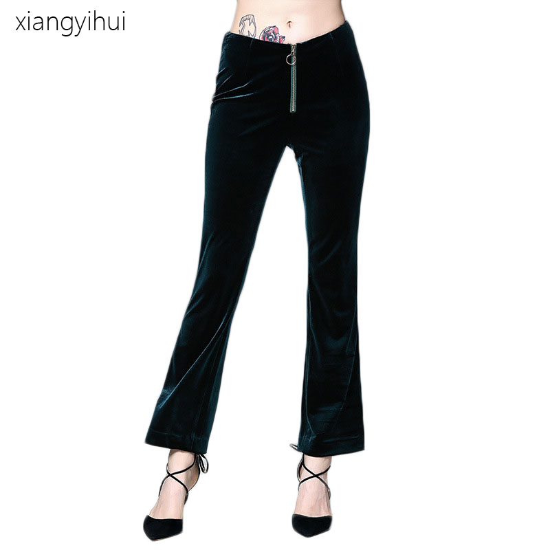 2017 Women Fashion Autumn Winter warm Pants Casual Blue Green Color Velvet Flare Pants Vintage Style Mid Waist Bell Bottom Pants