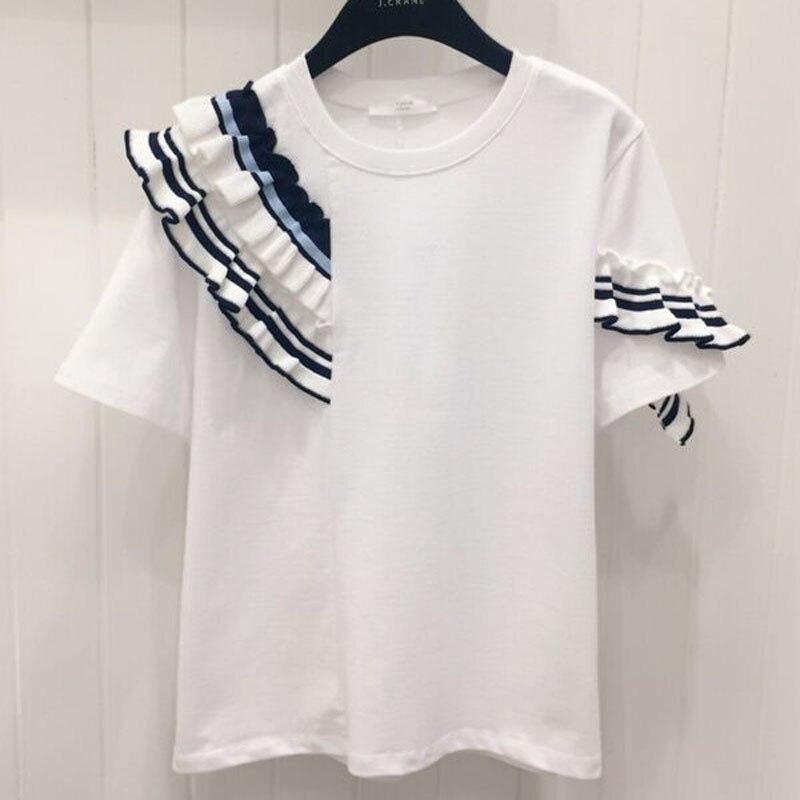 Chic Redondo 2019 Verano Camiseta Manga Casual Oreja De Mujer Costura Cuello Madera Salvaje Corta lcTF1K3J