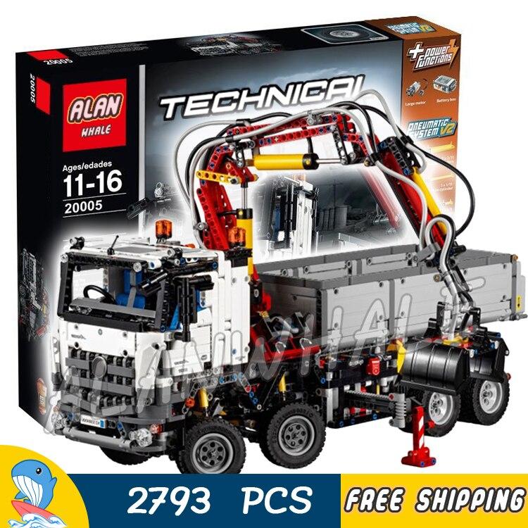 2793 шт. 2in1 техника электродвигателей моторизованный arocs грузовик 20005 модель строительные блоки игрушка кирпичи транспорта Совместимость с ...