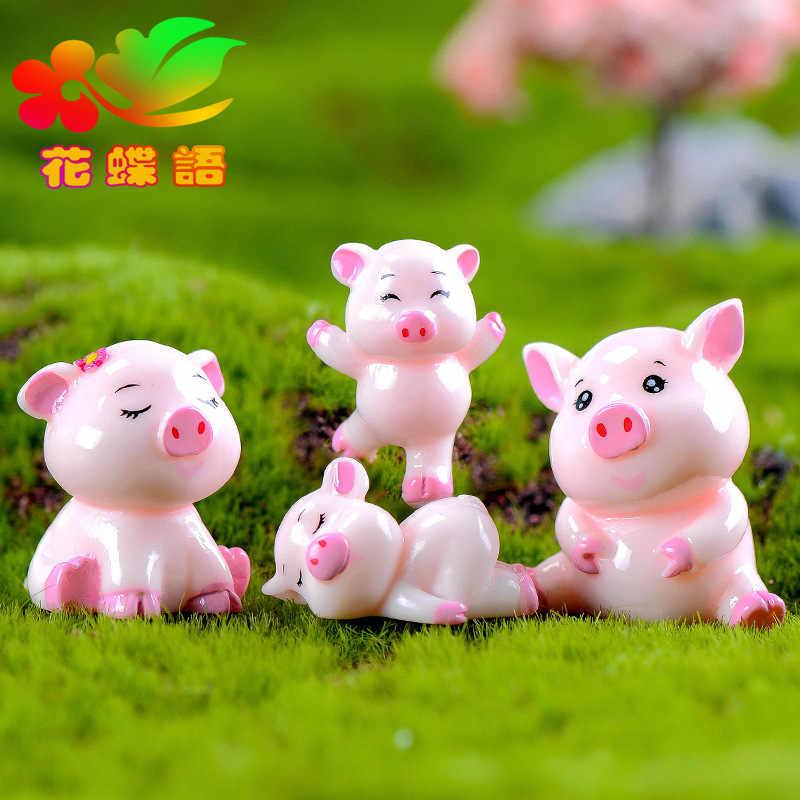 4 шт. миниатюрный свинья фрикадельки микро вид торт мультфильм кулон Смола ремесленных Миниатюрный Сад Фея садовый декор дома