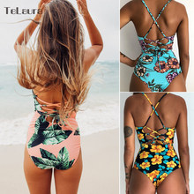 2019 Sexy One Piece Swimsuit Women Swimwear Print Bodysuit Crochet Bandage Cut Out Beach Wear Bathing Suit Monokini Swimsuit XL(China)