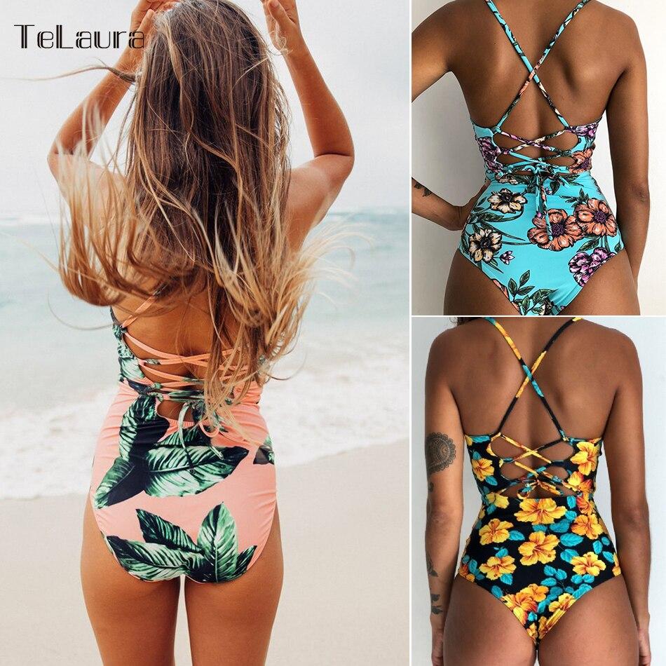 2017 de Una Pieza Atractivo del Traje de Baño Mujeres Imprimir Traje de Ganchillo Vendaje Cut Out Beach Wear Traje de Baño de Monokini traje de Baño XL