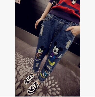 The new spring 2016 Korean loose elastic waist old hole jeans pants Beijing female personality