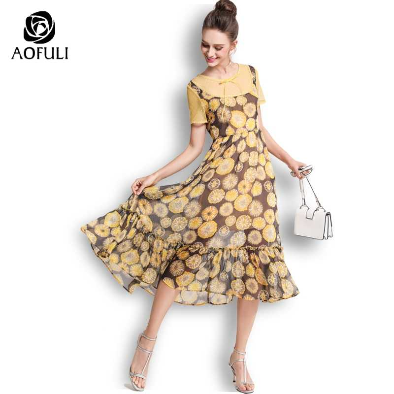 AOFULI Big Size Floral Print Dress Mid-calf Length Ruffle Chiffon Long  Bohemian Dress For 461878e74b44