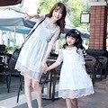 2016 новый мать дочь платье семья посмотрите лето мама дочь свадьбу одежда мода кружевном платье для девочек одежды семьи