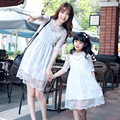 2016 new mother daughter dress family look summer mom daughter party wedding clothes fashion lace dress for girls family clothes