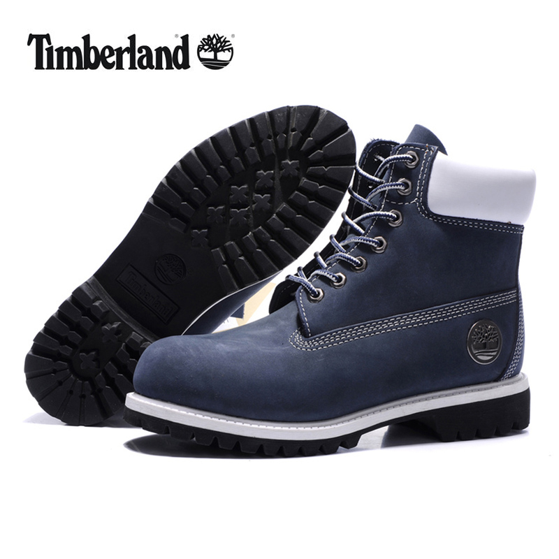 Original TIMBERLAND Man 10061 Blue Winter Ankle Boots,Men Timber Silver Metal Genuine Leather Outdoor Warm Durable Shoes 40-45