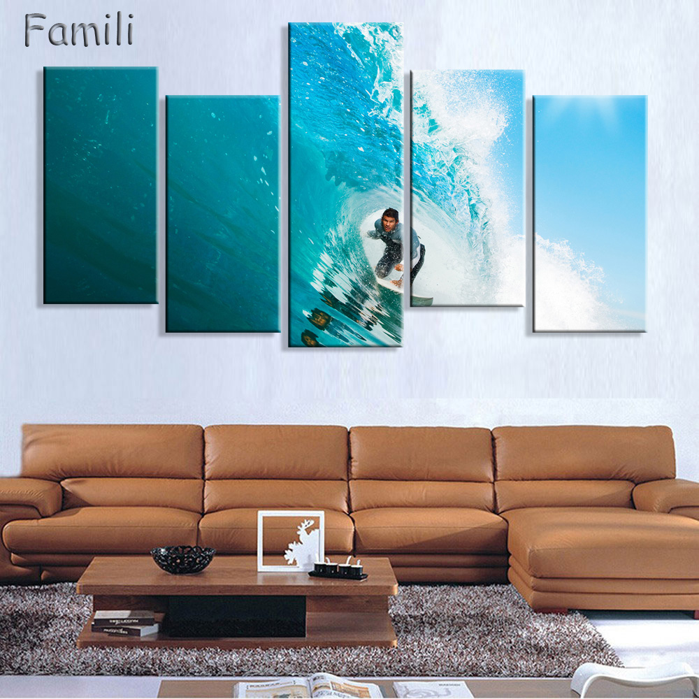 compare prices on canvas surf online shopping buy low price 5panel wall art painting canvas painting surf at sea natural beauty painting modern picture home decor