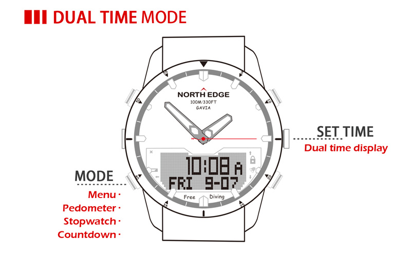 NORTH EDGE Men Sport Watch Altimeter Barometer Compass Thermometer Pedometer Calorie Depth Gauge Digital Watch Running Climbing 11