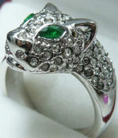Shipping Exquisite Jewelery White Leopard Crystal Ring 7 8 9 Rings