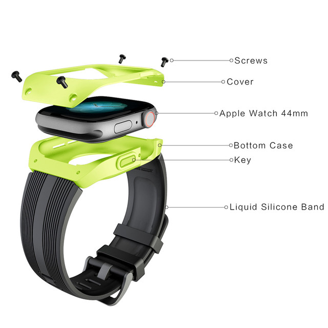 Case with Silicone Strap for Apple Watch Band Series 5 4 40 44mm New Design