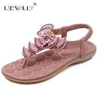 Lsewilly 2017 Newest Hot Summer Women Sandals Sweet Style Flip Flops Elastic Band Casual Flats Shoes