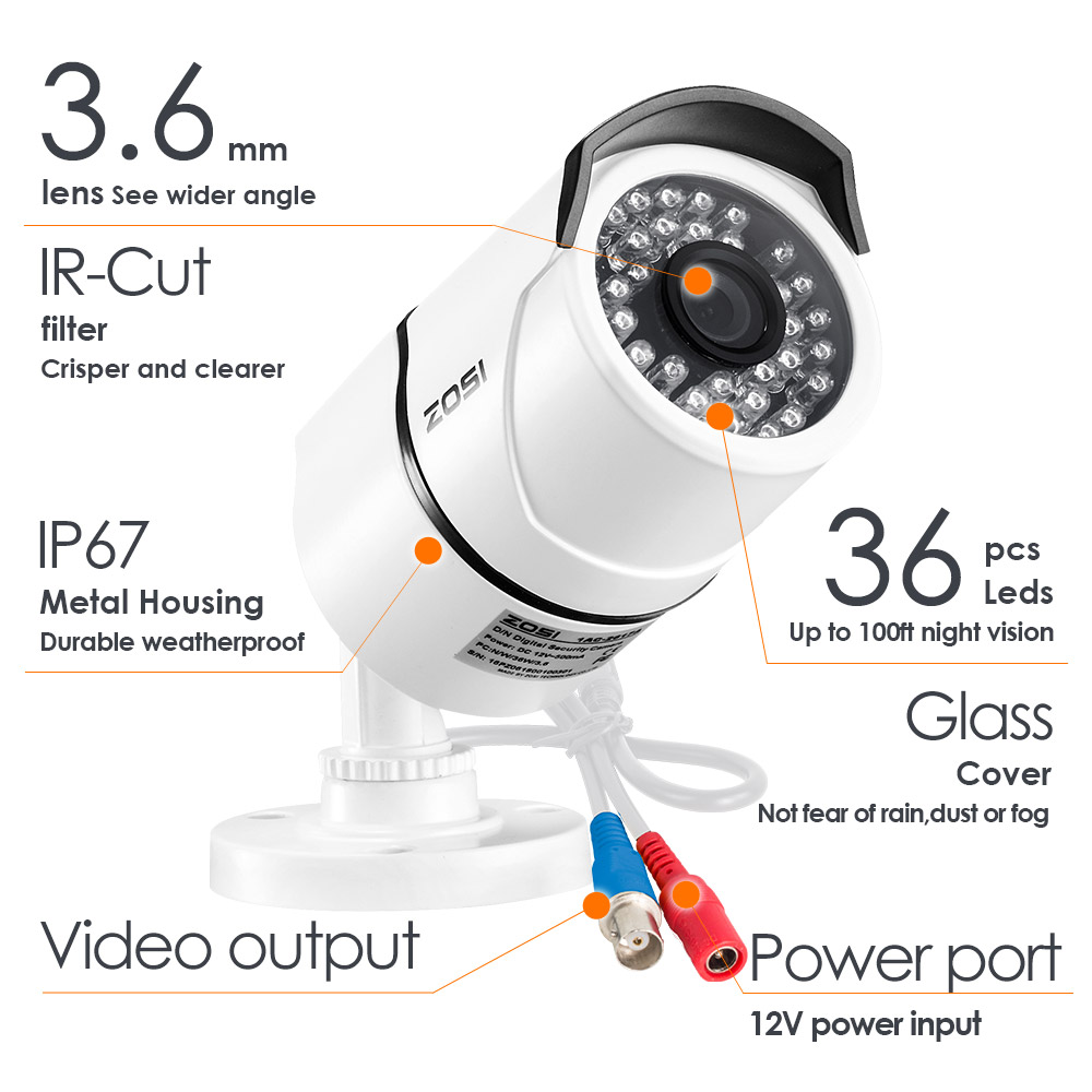 Image 4 - ZOSI 2.0mp 1080P Full HD Surveillance Cameras Strong Infrared 1080P HD TVI Security Camera CCTV Camera Video Cameras-in Surveillance Cameras from Security & Protection