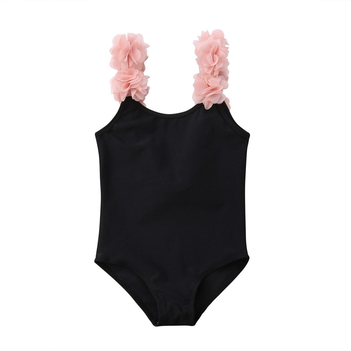 Black Kids Baby Girls Flower Ruffled Swimsuit Swimwear Bathing Suit Outfit