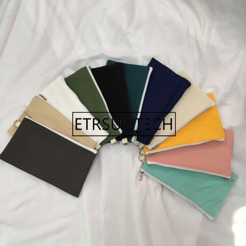 50pcs Coloful blank canvas zipper Pencil cases pen pouches cotton cosmetic Bags makeup bags Mobile phone